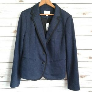 NWT LOFT Navy Herringbone Blazer Two Button